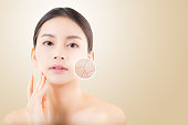 skincare and health and cosmetics concept - beautiful asian young woman face with wrinkles over circles for advertising.