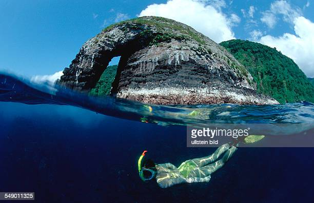 Skindiving Skin diver split image Costa Rica Pacific Ocean Cocos Island Latin america