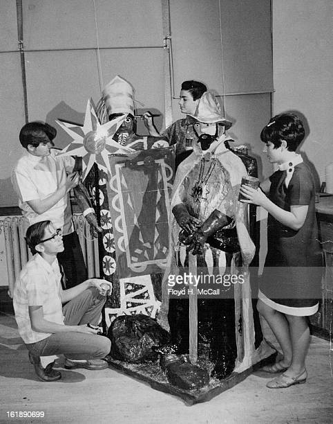MAY 14 1968 MAY 18 1968 MAY 29 1968 Skinner Students Make Statues Two lifesized statures of Montezuma and Cortez have been completed by ninth grade...
