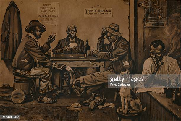 Skinning the Lamb c1910 An American cartoon depicting three African American men playing cards Two of the men are skinning or fleecing the third The...