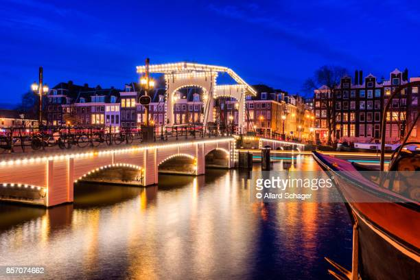 Skinny Bridge Amsterdam at Dusk