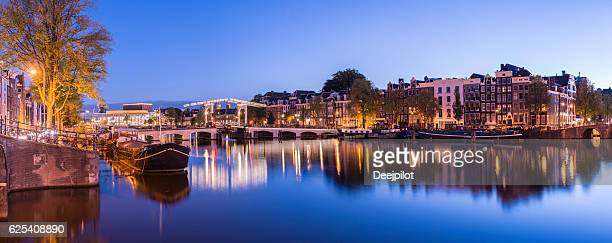 Skinny Bridge in Amsterdam at twilight, Holland