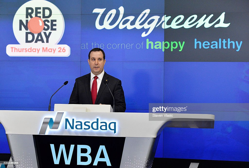 Skip Bourdo, Corporate Operations Vice President of Walgreens rings The NASDAQ Opening Bell In Celebration Of Red Nose Day at NASDAQ MarketSite on May 26, 2016 in New York City.