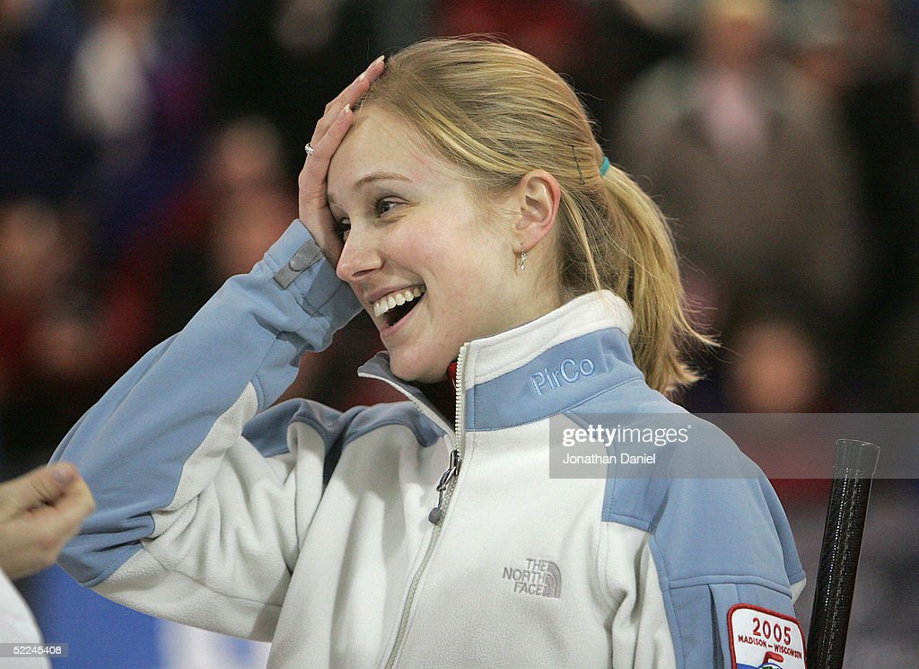 Skip Cassie Johnson celebrates after winning an automatic berth to the 2006 Winter Olympics in Torino Italy by defeating Team McCormick during the...