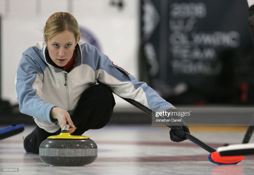 Skip Cassie Johnson releases the stone during the Women's 2006 United States Olympic Team Trials on February 26 2005 at the Madison Curling Club in...
