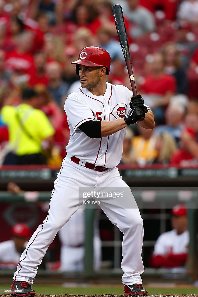 Skip Schumaker of the Cincinnati Reds takes an at bat during the game against the Miami Marlins at Great American Ball Park on August 8 2014 in...