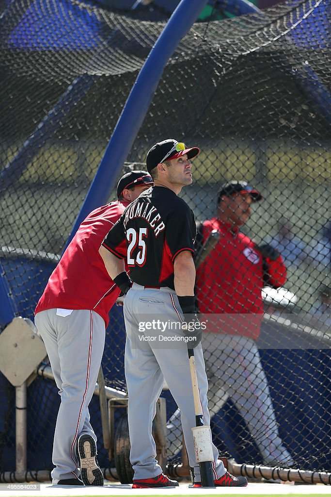 Skip Schumaker of the Cincinnati Reds waits to take batting practice prior to the MLB game against the Los Angeles Dodgers at Dodger Stadium on May...