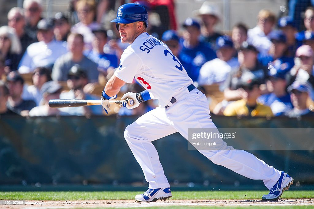 <a gi-track='captionPersonalityLinkClicked' href=/galleries/search?phrase=Skip+Schumaker&family=editorial&specificpeople=640599 ng-click='$event.stopPropagation()'>Skip Schumaker</a> #3 of the Los Angeles Dodgers bats during a spring training game against the Chicago White Sox at Camelback Ranch on February 23, 2013 in Glendale, Arizona.