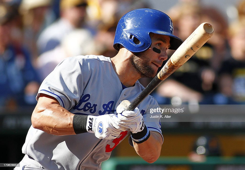<a gi-track='captionPersonalityLinkClicked' href=/galleries/search?phrase=Skip+Schumaker&family=editorial&specificpeople=640599 ng-click='$event.stopPropagation()'>Skip Schumaker</a> #3 of the Los Angeles Dodgers hits an RBI single in the fifth inning against the Pittsburgh Pirates during the game on June 15, 2013 at PNC Park in Pittsburgh, Pennsylvania.
