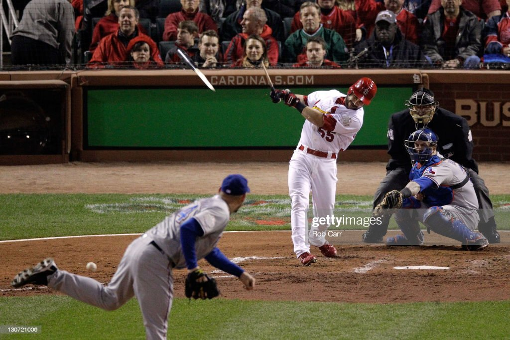 Skip Schumaker of the St Louis Cardinals gets a broken bat ground out in the fourth inning during Game Seven of the MLB World Series against the...