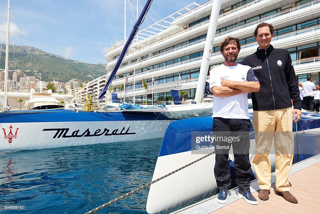 Skipper Giovanni Soldini (L) and chairman of Fiat Chrysler Automobiles NV <a gi-track='captionPersonalityLinkClicked' href=/galleries/search?phrase=John+Elkann&family=editorial&specificpeople=571803 ng-click='$event.stopPropagation()'>John Elkann</a> attend the Maserati Multi70 press conference at YCM on June 29, 2016 in Monte-Carlo, Monaco.