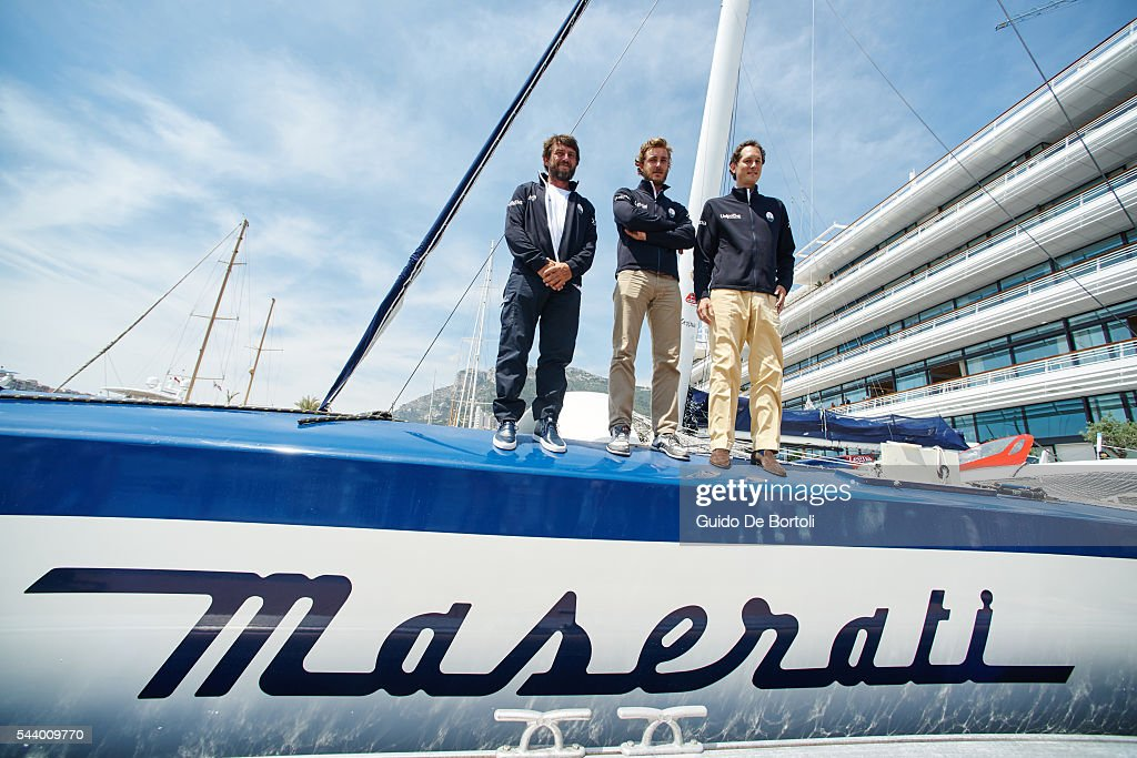Skipper Giovanni Soldini, <a gi-track='captionPersonalityLinkClicked' href=/galleries/search?phrase=Pierre+Casiraghi&family=editorial&specificpeople=238946 ng-click='$event.stopPropagation()'>Pierre Casiraghi</a> and chairman of Fiat Chrysler Automobiles NV <a gi-track='captionPersonalityLinkClicked' href=/galleries/search?phrase=John+Elkann&family=editorial&specificpeople=571803 ng-click='$event.stopPropagation()'>John Elkann</a> and attend the Maserati Multi70 press conference at YCM on June 29, 2016 in Monte-Carlo, Monaco.