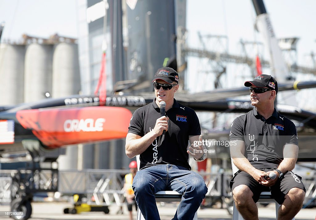 Skipper <a gi-track='captionPersonalityLinkClicked' href=/galleries/search?phrase=James+Spithill&family=editorial&specificpeople=2181352 ng-click='$event.stopPropagation()'>James Spithill</a> and tactician John Kostecki speak at an event for the launch of the new Oracle Team USA AC72 racing yacht on April 23, 2013 in San Francisco, California. This racing yacht will be used in this year's America Cup Finals, which will be held in San Francisco Bay between September 7-22.