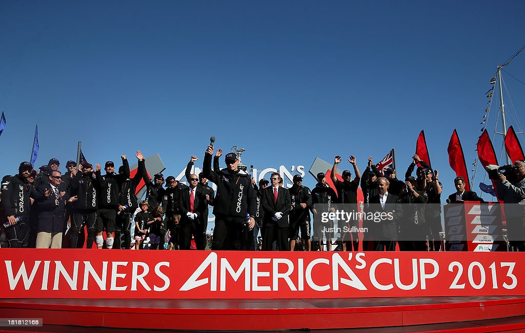 Skipper James Spithill of Oracle Team USA celebrates onstage after defending the Cup as they beat Emirates Team New Zealand to defend the America's...