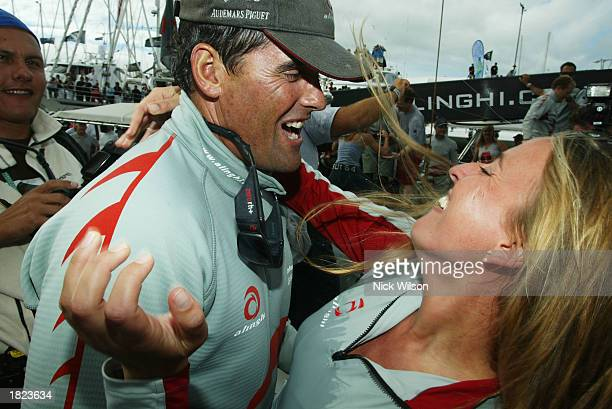 Skipper of Alinghi Russell Coutts and Dona Bertarelli celebrate after Race Five of the America's Cup between Team New Zealand and Alinghi of...