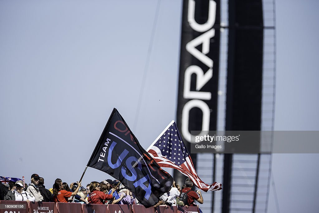 ORACLE TEAM USA skippered by James Spithill and Emirates Team New Zealand skippered Dean Barker Sailed in AC 72s carbon catamarans during day 7 of...