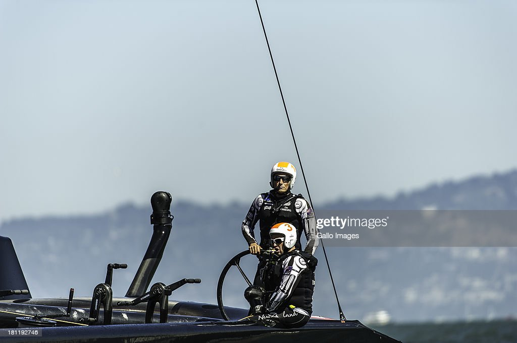 USA skippered by James Spithill (AUS) and Emirates Team New Zealand skippered Dean Barker (NZL) Sailed in AC 72s carbon catamarans during day 9 of the America's Cup on September 19th, 2013 in San Francisco. Team New Zealand skipper Dean Barker at the wheel.
