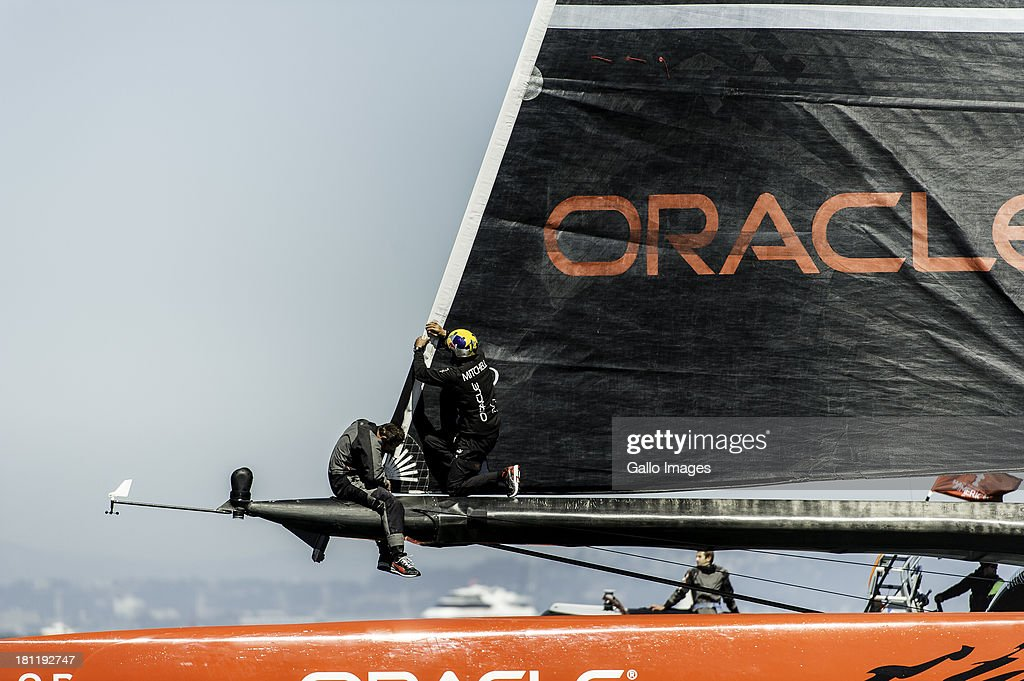 USA skippered by James Spithill (AUS) and Emirates Team New Zealand skippered Dean Barker (NZL) Sailed in AC 72s carbon catamarans during day 9 of the America's Cup on September 19th, 2013 in San Francisco. ORACLE TEAM USA changes their jib after race 12.
