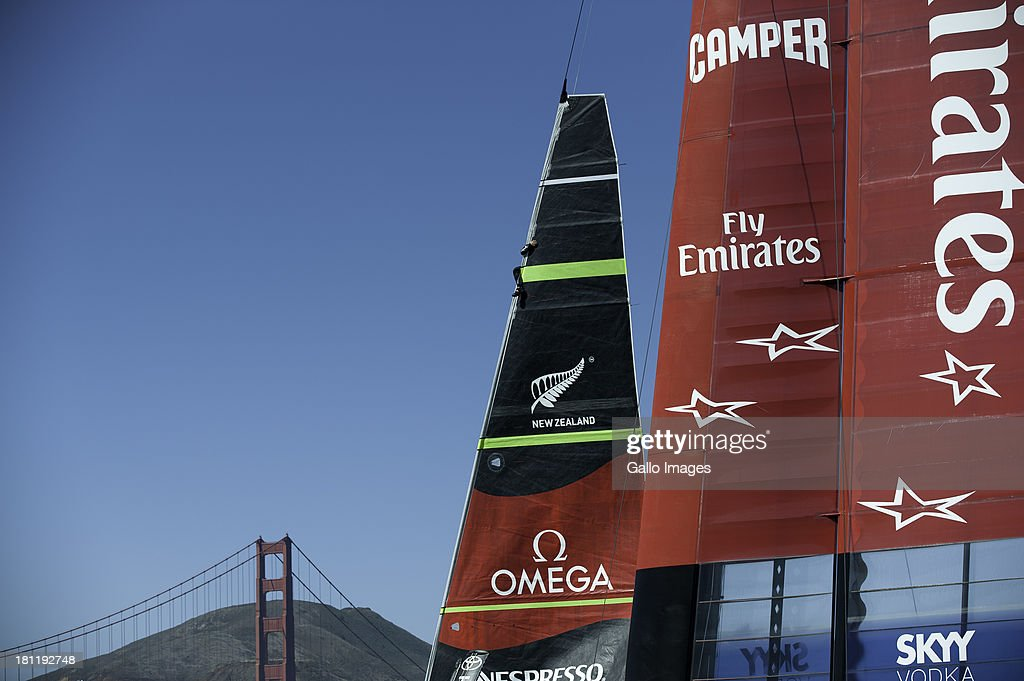 USA skippered by James Spithill (AUS) and Emirates Team New Zealand skippered Dean Barker (NZL) Sailed in AC 72s carbon catamarans during day 9 of the America's Cup on September 19th, 2013 in San Francisco. Emirates Team New Zealand change their jib before race 13.
