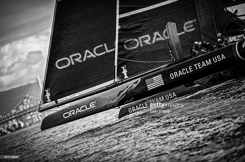 USA skippered by James Spithill (AUS) and Emirates Team New Zealand skippered Dean Barker (NZL) Sailed in AC 72s carbon catamarans during day 10 of the America's Cup on September 20th, 2013 in San Francisco. ORACLE TEAM USA bow rounds the top mark in race 13.