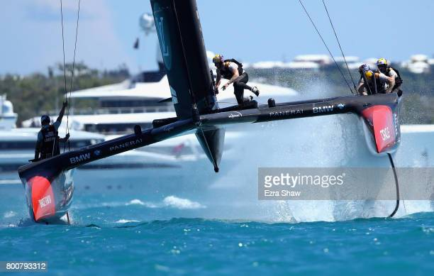 USA skippered by Jimmy Spithill competes with Emirates Team New Zealand helmed by Peter Burling in race 8 on day 4 of the America's Cup Match...