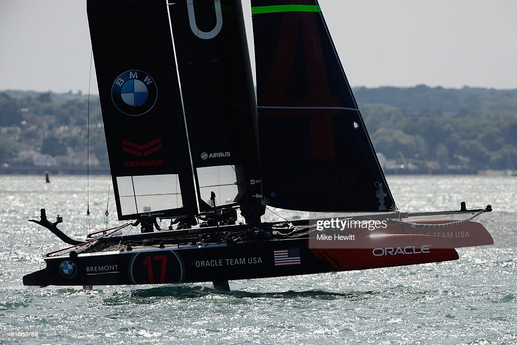 USA skippered by Jimmy Spithill in action during Day One of the Louis Vuitton America's Cup World Series on July 23 2015 in Portsmouth England