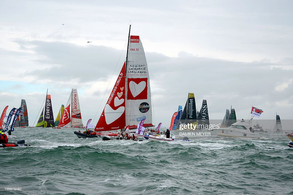 Skippers compete on board their monohulls at the start of the 7th edition of the Vendee Globe the solo nonstop roundtheworld yacht race in Les Sables...