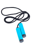 Black Skipping rope with blue handles isolated on white