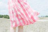 Skirt blowing in breeze