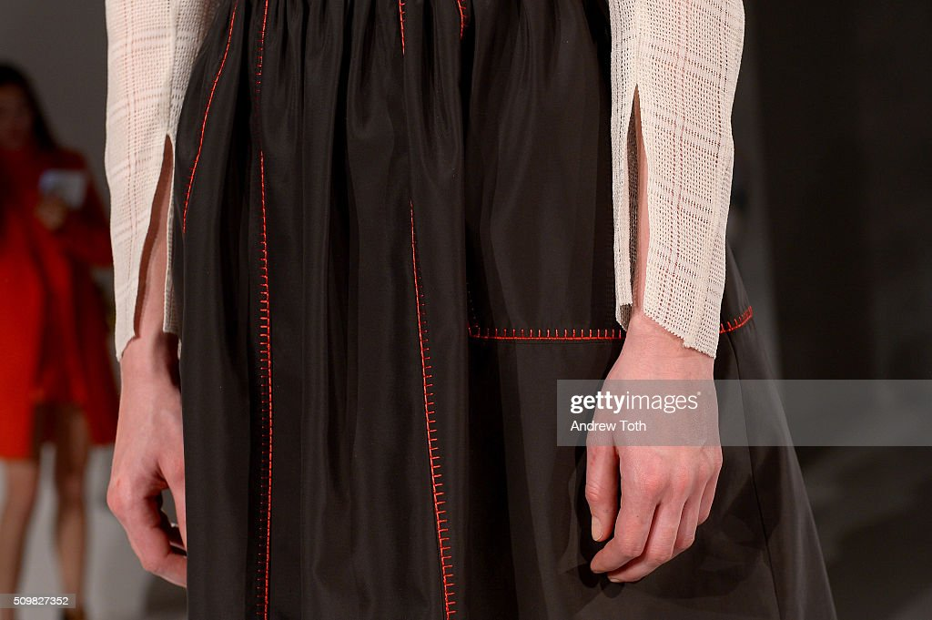 A skirt detail of O'2nd Fall 2016 during New York Fashion Week: The Shows at The Space, Skylight at Clarkson Sq on February 12, 2016 in New York City.