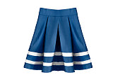 Blue pleated school uniform skirt on white background