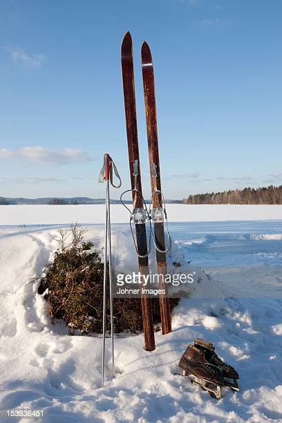 Skis and ice skates in winter landscape