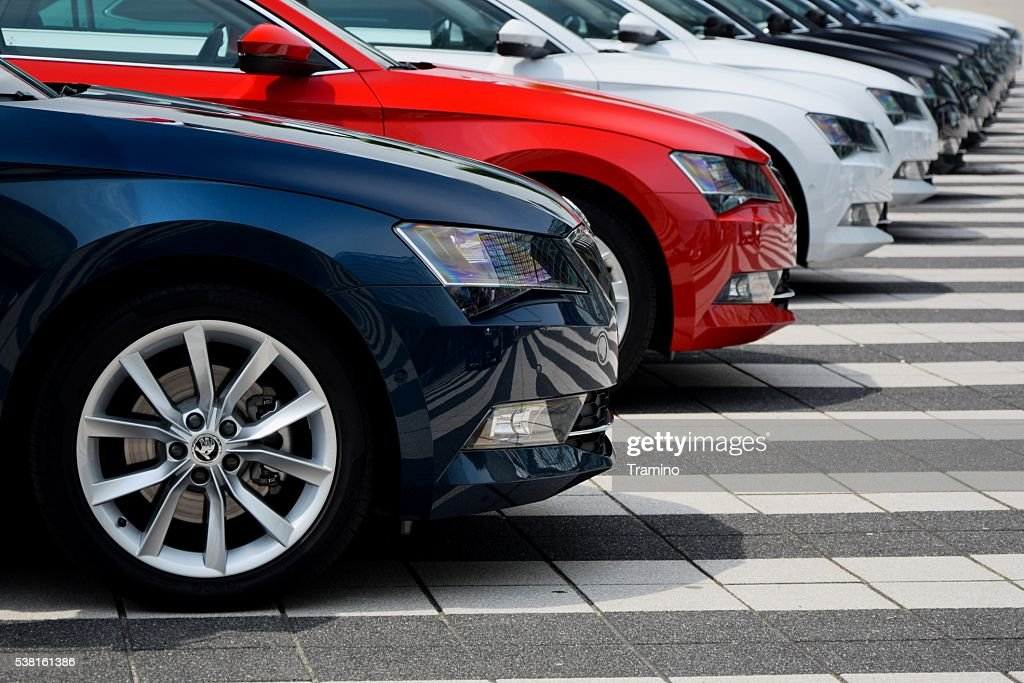 Skoda cars in a row : Stock Photo