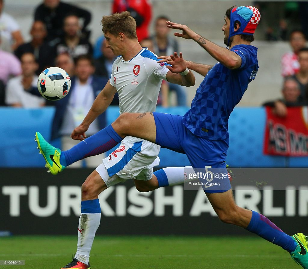 Skoda of Czech Republic in action against Corluka of Croatia during the UEFA Euro 2016 Group D match between Czech Republic and Croatia at Stat...