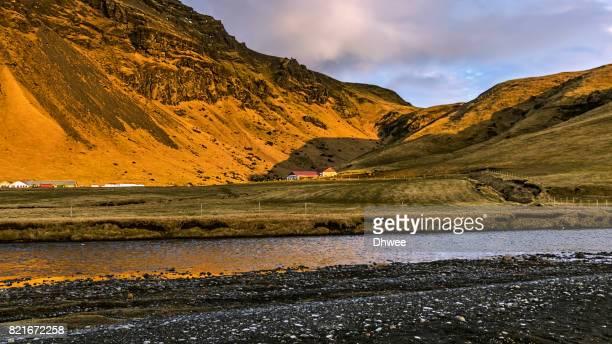 Skogar River And Hills Before Sunrise, Iceland