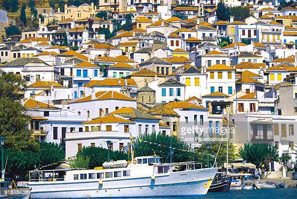 Skopelos Town, whitewashed houses with colourful d