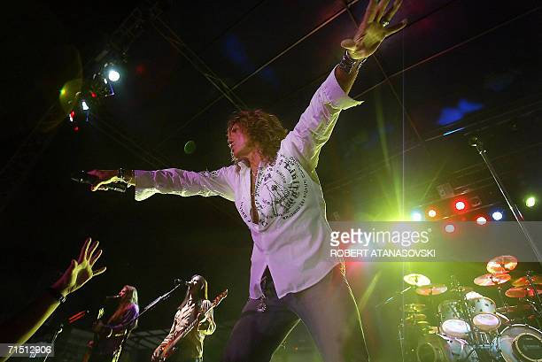 Lead singer David Coverdale of the British hard rock band Whitesnake performs during a concert in Macedonia's capital Skopje late 24 July 2006 AFP...