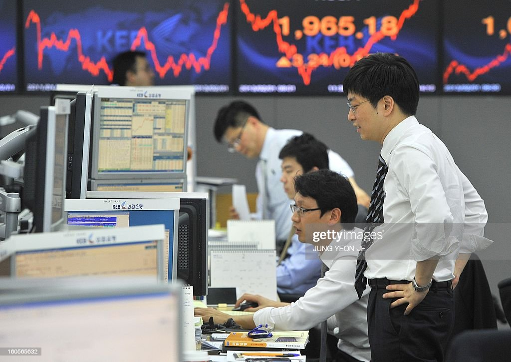 SKorea-Japan-economy-trade-forex,FOCUS by Jung Hawon This photo taken on February 1, 2013 shows currency traders monitoring exchange rates in a dealing room at the Korea Exchange Bank in Seoul. A surging won and waning yen are eroding the bottom lines of South Korea's export powerhouses who are feeling the pinch after years of gobbling up global market share from their Japanese rivals. AFP PHOTO / JUNG YEON-JE