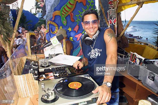 DJ Skribble poses for a photo during 'Carmen Electra's Dance Party' during MTV's Spring Break 2001 in Cancun Mexico which airs March 2325 3/14/01...