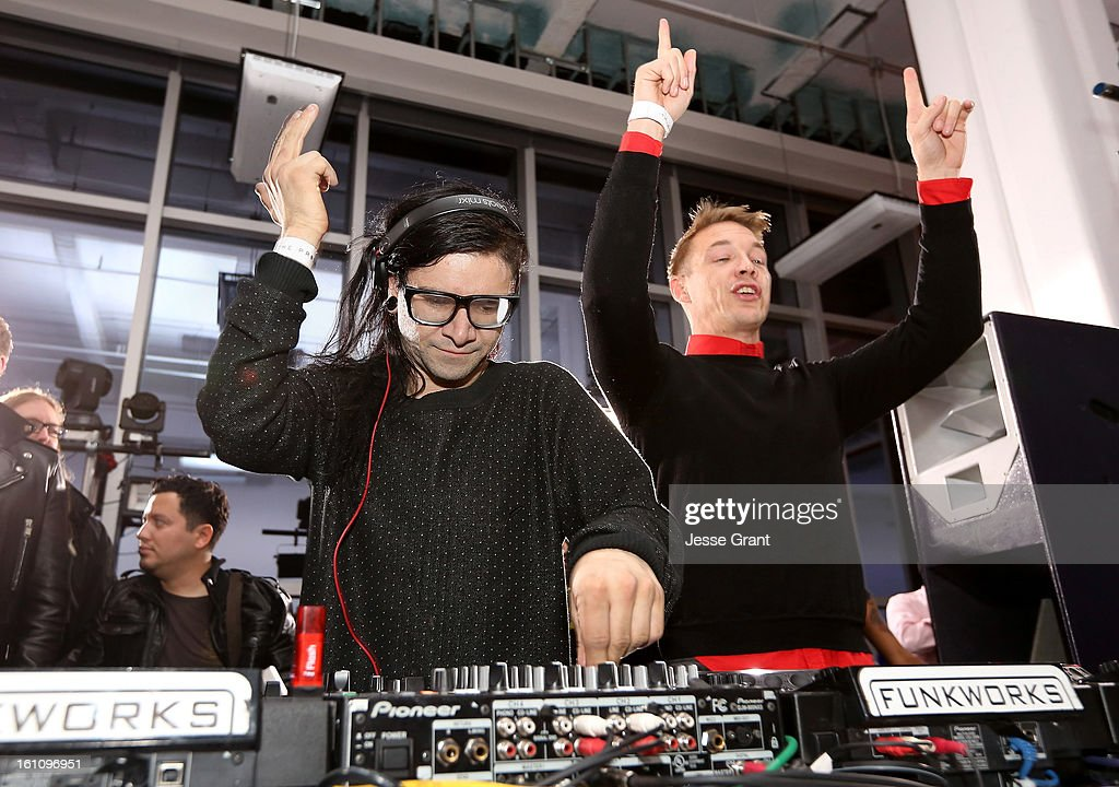 Skrillex and Diplo attend the Skrillex, Diplo, Kaskade, Nero And Tommy Trash Perform Live, Supporting DANCE (RED), SAVE LIVES presented by Beats by Dr. Dre event at the AT&T Center on February 8, 2013 in Los Angeles, California.