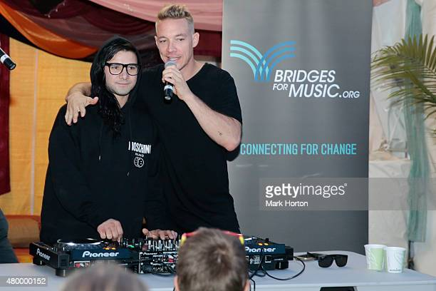 Skrillex and Diplo meet with Bluesfest School of Music and Art DJ Camp participants backstage on Day 1 of the RBC Royal Bank Bluesfest on July 8 2015...