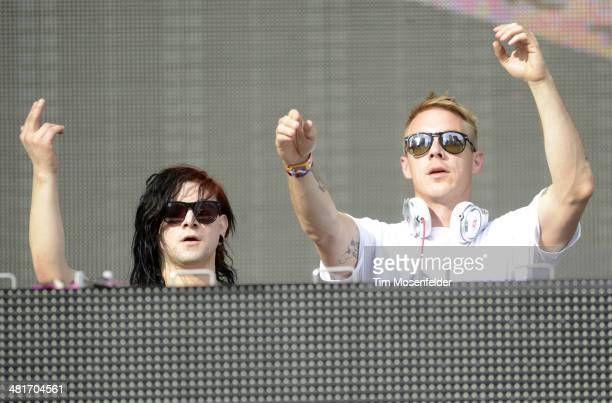 Skrillex and Diplo perform as Jack U during the Ultra Music Festival at Bayfront Park Amphitheater on March 30 2014 in Miami Florida
