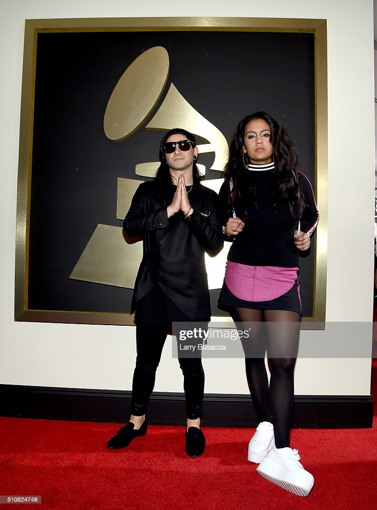 DJ Skrillex (L) and guest attend The 58th GRAMMY Awards at Staples Center on February 15, 2016 in Los Angeles, California.