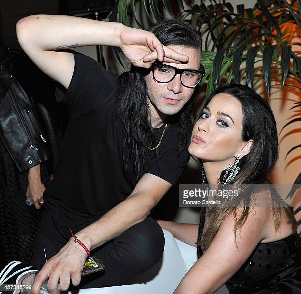 Skrillex and singer Katy Perry attend 'Jeremy Scott The People's Designer' afterparty hosted by The Rooftop at The Hollywood Roosevelt Hotel on...