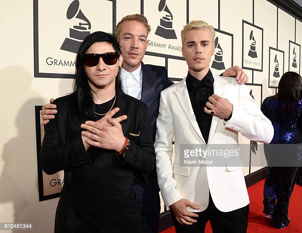 Skrillex Diplo and Justin Bieber attend The 58th GRAMMY Awards at Staples Center on February 15 2016 in Los Angeles California
