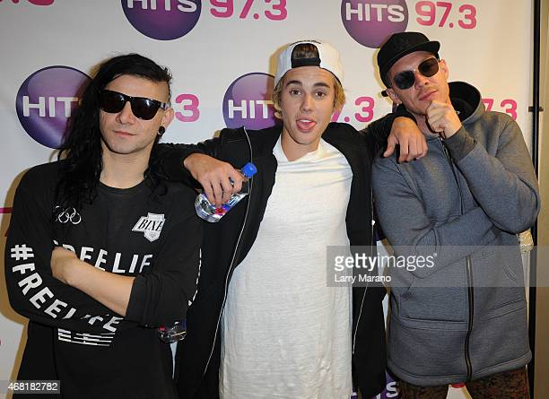 Skrillex Justin Bieber and Diplo visit Hits 973 Radio Station on March 30 2015 in Miami Florida