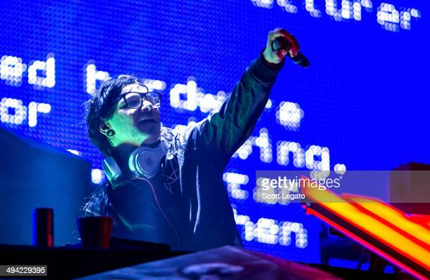 Skrillex performs at the Masonic Temple Theater on May 28 2014 in Detroit Michigan