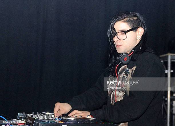Skrillex performs during an after party for the OWSLA Tour Featuring Skrillex at Mardi Gras World on October 28 2012 in New Orleans Louisiana