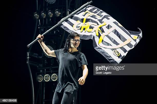 Skrillex performs during Full Flex Express Tour with Jack U Featuring Skrillex Diplo at Festival D'ete DE Quebec on July 9 2015 in Quebec City Canada