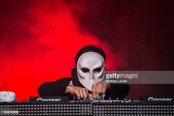 Skrillex performs during the 2012 Voodoo Experience at City Park on October 28 2012 in New Orleans Louisiana